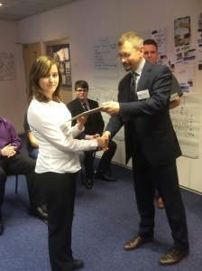 Amy receives her certificate from Exeter City Council Chief Executive