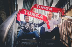 Aaron and Dan prepare for RWC 2015 Tonga v Namibia match